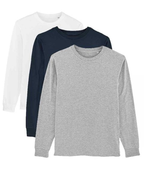 Herren | 3er Pack Langarm T-Shirt aus Baumwolle (Bio), Weiß Navy Heather Grey