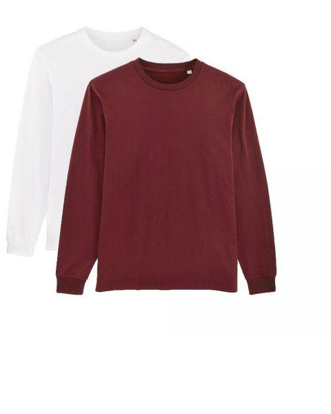 Herren | 2er Pack Langarm T-Shirt aus Baumwolle (Bio), Weiß Burgunderrot