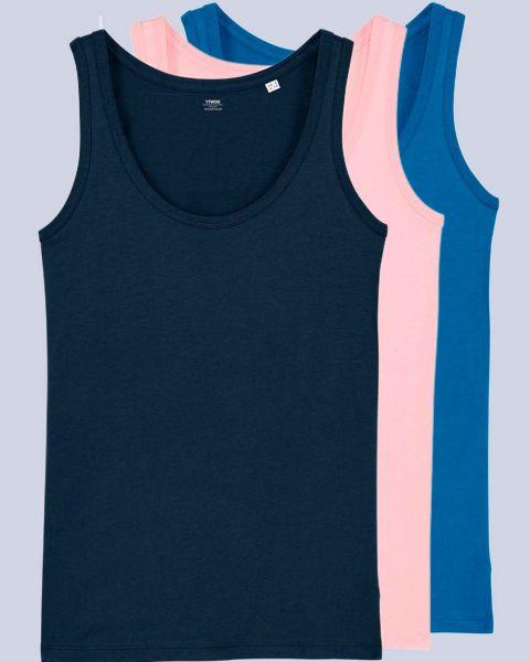 3er Pack Tops | Damen | Bio Baumwolle | Farbkombinationen