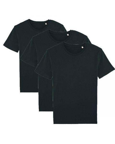 Herren   3er Pack Basic T-Shirt Schwarz, mittelschwer