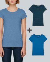 Damen Basic T-Shirt in verschiedenen Blautönen| 3er Multipack
