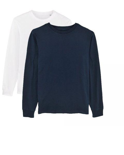 Herren | 2er Pack Langarm T-Shirt aus Baumwolle (Bio), Weiß Navy