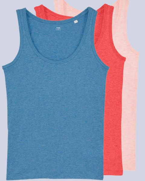 3er Pack Tops | Damen | meliert |Bio Baumwolle | Farbkombinationen