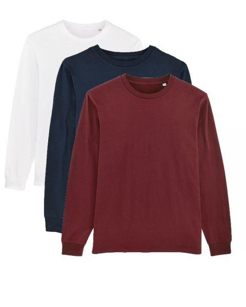 Herren | 3er Pack Langarm T-Shirt aus Baumwolle (Bio), Weiß Navy Burgunderrot