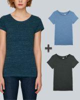 Damen Basic T-Shirt in Blau und Grau meliert | 3er Multipack