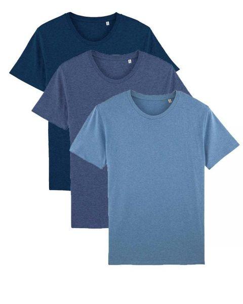 Herren | 3er Pack Basic T-Shirt | mittelschwer | in verschiedene Blautönen