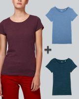 Damen Basic T-Shirt in verschiedenen Farben meliert | 3er Multipack