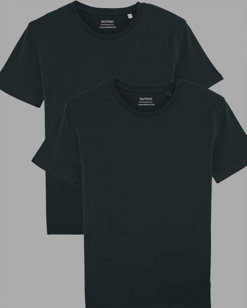 Herren | 2er Pack Basic T-Shirt Schwarz, mittelschwer