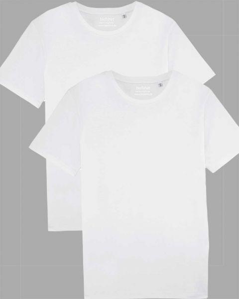 Herren | 2er Pack Basic T-Shirt Weiß, mittelschwer