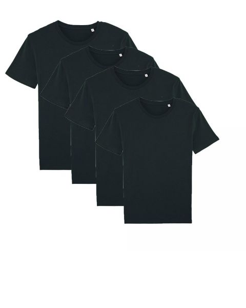 Herren | 4er Pack Basic T-Shirt | mittelschwer | Schwarz