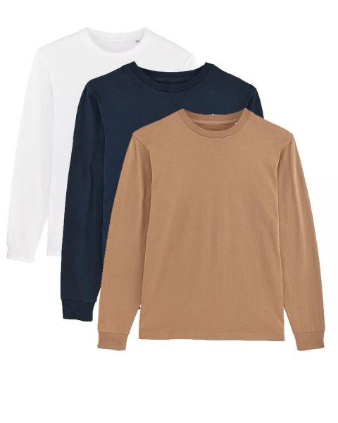 Herren   3er Pack Langarm T-Shirt aus Baumwolle (Bio), Weiß Navy Camel