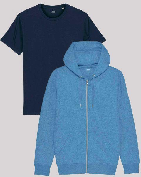 Hoodie Jacke und Basic T-Shirt | Kombi-Set