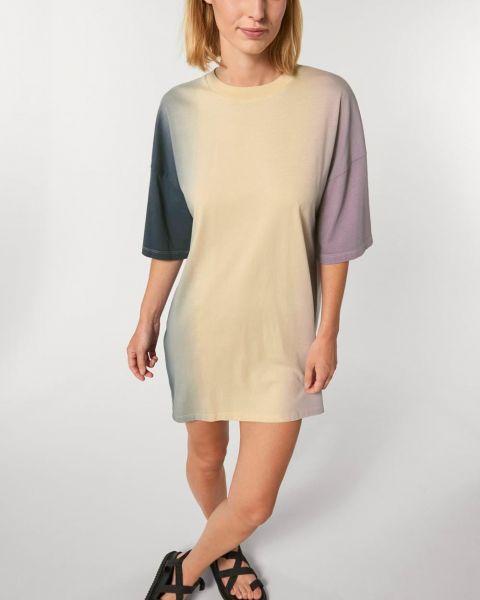 T-Shirt Kleid aus Bio Baumwolle; tauchgefärbt; weit und locker; in drei Größen