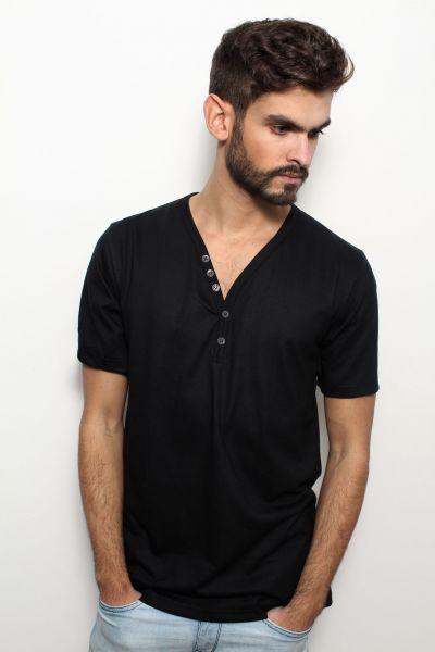 Herren | T-Shirt aus Bio-Baumwolle mit Knopfleiste, Made in Germany