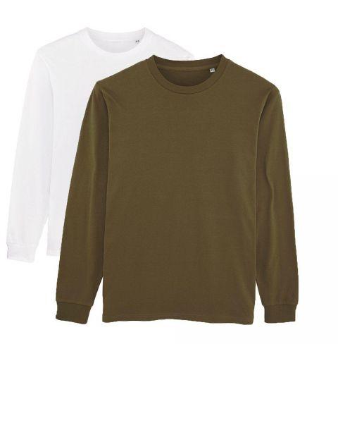 Herren | 2er Pack Langarm T-Shirt aus Baumwolle (Bio), Weiß Khaki
