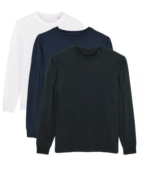 Herren | 3er Pack Langarm T-Shirt aus Baumwolle (Bio), Weiß Schwarz Navy