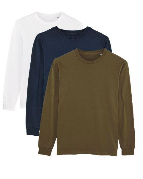 Herren | 3er Pack Langarm T-Shirt aus Baumwolle (Bio), Weiß Navy Khaki