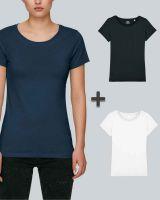 Damen Basic T-Shirt in Schwarz, Weiß, Navyblau| 3er Multipack