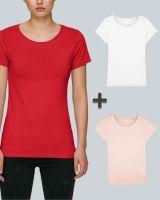 Damen Basic T-Shirt in Weiß, Pink und Rot| 3er Multipack