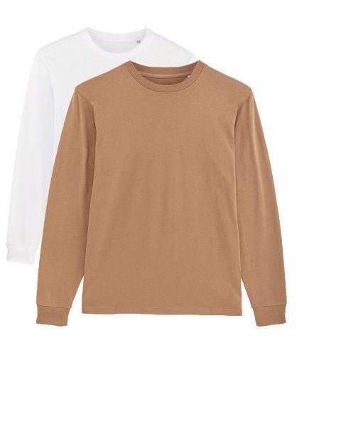 Herren | 2er Pack Langarm T-Shirt aus Baumwolle (Bio), Weiß Camel