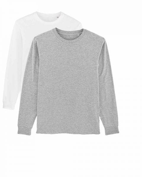 Herren | 2er Pack Langarm T-Shirt aus Baumwolle (Bio), Weiß Hearher Grey