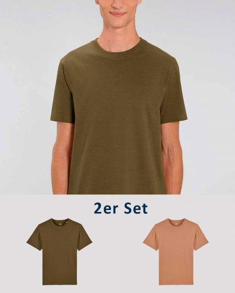 2er Pack | Männer T-Shirt Basic | schwere Bio-Baumwolle | 220g/m² | Zwei Farbkombinationen