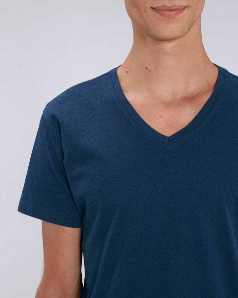 Fairtrade T-Shirt mit V-Ausschnitt | Bio-Baumwolle | meliert