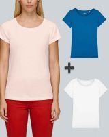 Damen Basic T-Shirt in Weiß, Pink, Royalblau| 3er Multipack