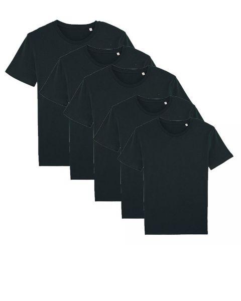 Herren | 5er Pack Basic T-Shirt mittelschwer | Schwarz
