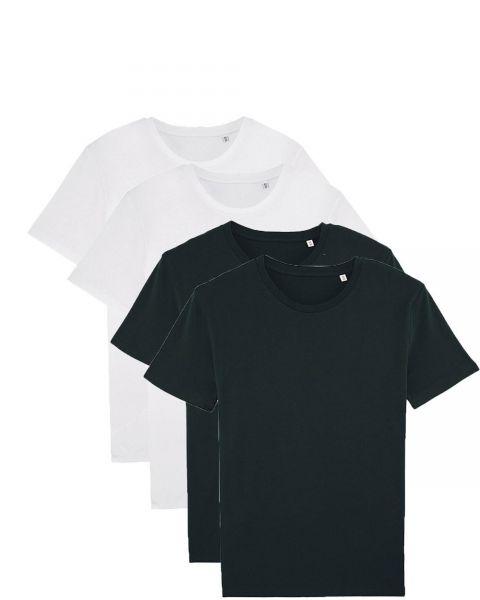 Herren | 4er Pack Basic T-Shirt | mittelschwer | Schwarz/Weiß