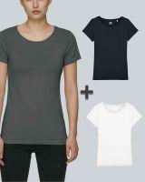 Damen Basic T-Shirt in Schwarz, Weiß, Anthrazit| 3er Multipack