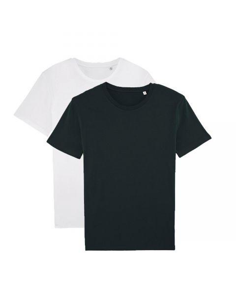 Herren | 2er Pack Basic T-Shirt Schwarz/Weiß, mittelschwer