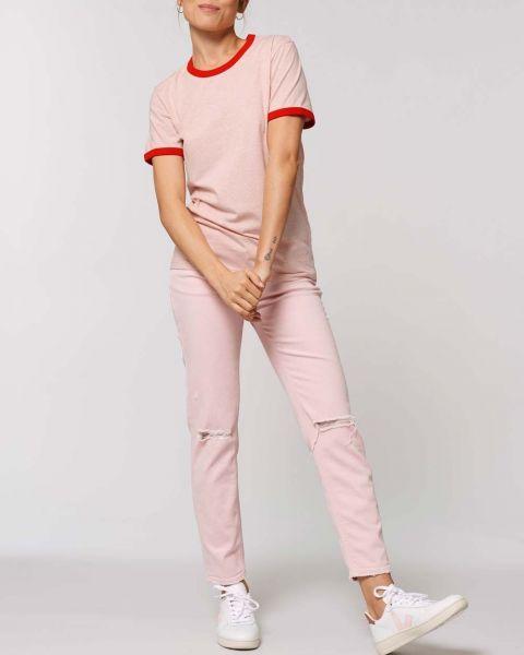 Ringer T-Shirt aus 100% Bio-Baumwolle mit farbigen Bündchen