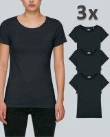 Damen Basic T-Shirt in Schwarz | 3er Multipack