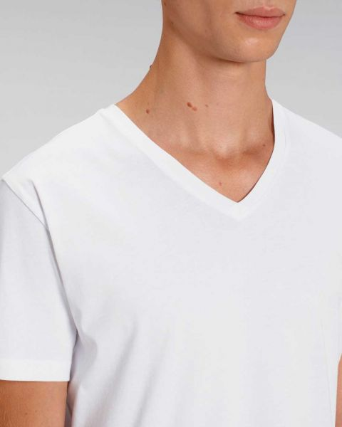 V-Ausschnitt | T-Shirt für Männer in Weiß | Bio Baumwolle