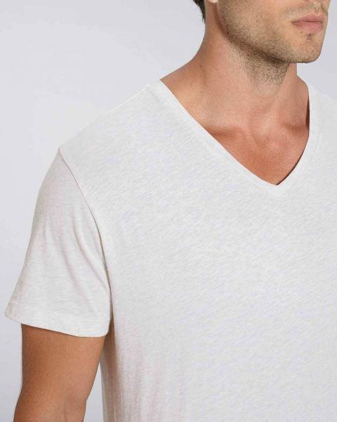 Fairtrade T-Shirt mit V-Ausschnitt | Bio-Baumwolle | leicht meliert