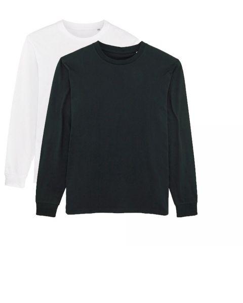 Herren | 2er Pack Langarm T-Shirt aus Baumwolle (Bio) ,Schwarz/Weiß