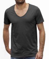 Herren | T-Shirt aus  Bio-Baumwolle in Slub Look mit V-Ausschnitt