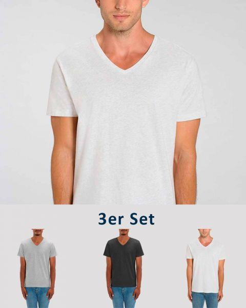 3er Pack V T-Shirt für Männer   Fair & Nachhaltig